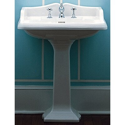 Whitehaus Collection China Large Traditional Pedestal Bathroom Sink With Rectangular Basin