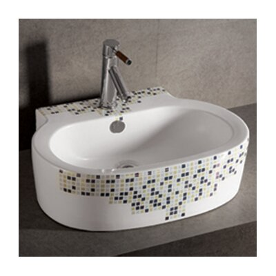 Whitehaus Collection Isabella Decorative Tile Oval Bathroom Sink with Center Drain