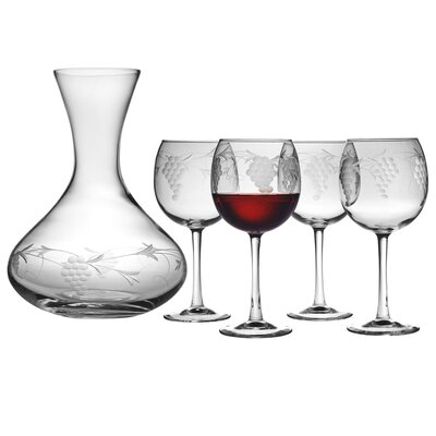Sonoma 5 Piece Carafe and Red Wine Glass Set by Susquehanna Glass