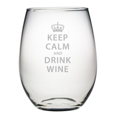 Susquehanna Glass Keep Calm & Drink Wine Stemless 21 Oz. Wine Glass