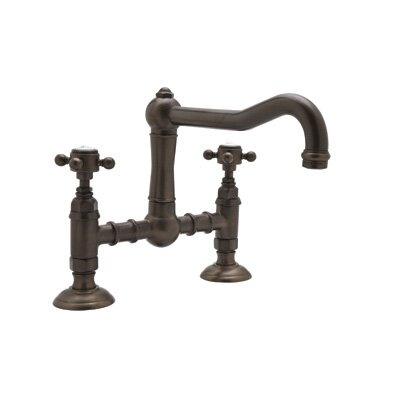 Country Kitchen Deck Mount Two Handle Widespread Bridge Faucet by Rohl