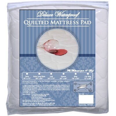 4-Ply Deluxe Quilted Waterproof Mattress Pad by BargooseHomeTextiles