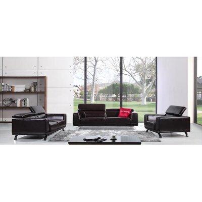 Divani Casa 3 Piece Brustle Leather Sofa Set by VIG Furniture