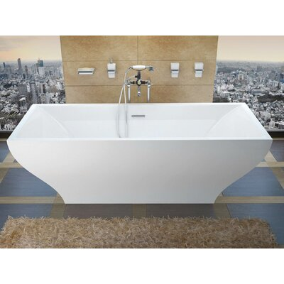 """Madre 71"""" x 32"""" Freestanding One Piece Soaking Bathtub with Center Drain Product Photo"""