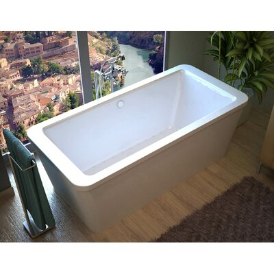 """Buena 67"""" x 34"""" Rectangular Freestanding Air Jetted Bathtub with Center Drain Product Photo"""