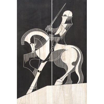 2 Piece Hand Carved Left-Facing Lacquer Knight Painting Print Set by BIDKhome