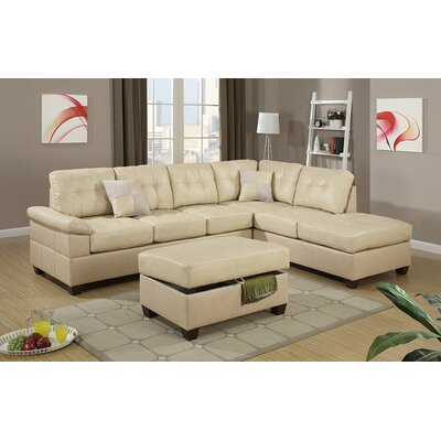 Bobkona Randel Leather Reversible Chaise Sectional by Poundex