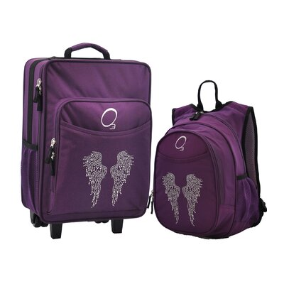 Obersee 2 Piece Bling Rhinestone Angel Wings Kids Luggage and Backpack Set