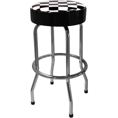 "On The Edge Marketing Checker Flag 30"" Bar Stool with Cushion"
