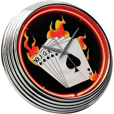 "On The Edge Marketing Poker 14.75"" Neon Wall Clock"