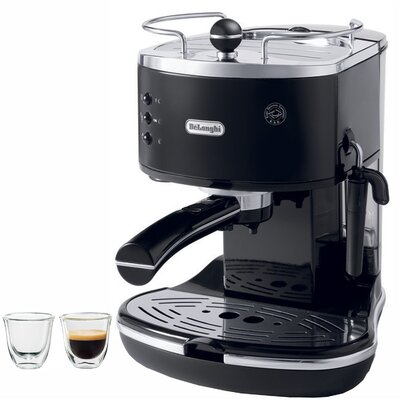 Icona 15-Bar Pump Driven Semi-Automatic Espresso Machine and 2 Espresso Glasses by DeLonghi