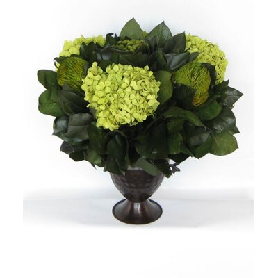 Metal Trophy Small Vase with Brunia, Banksia and Hydrangea by Bougainvillea