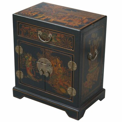 Handmade Tang Dynasty Style Black Bonded Leather Accent Table by EXP Décor