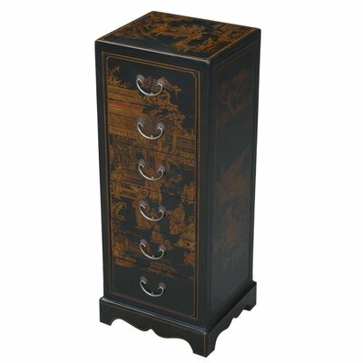 Handmade Oriental Antique Style Black Bonded Leather Accent / Hall Table by EXP Décor