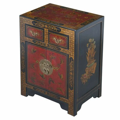 Handmade Oriental Antique Style Black Bonded Leather End Table With Nature Motifs by EXP Décor ...