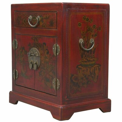 Handmade Tang Dynasty Style Red Bonded Leather Accent Table by EXP Décor