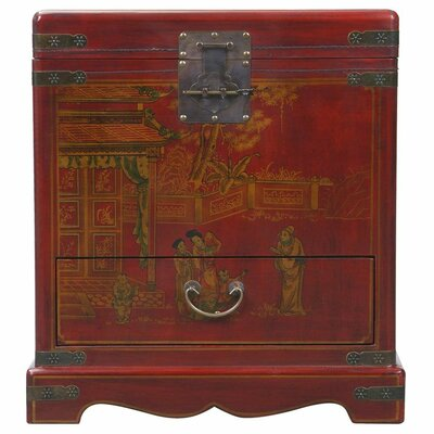 Handmade Oriental Antique Style Red Bonded Leather End Table / Storage Chest by EXP Décor ...