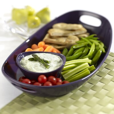 Rachael Ray Stoneware 2 Piece Chip and Dip Tray Set