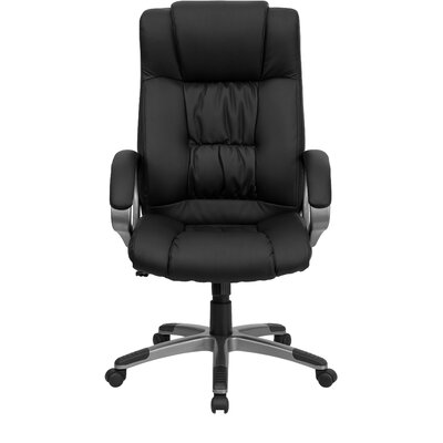 Flash Furniture Double Padded High-Back Leather Executive Chair with Titanium Base