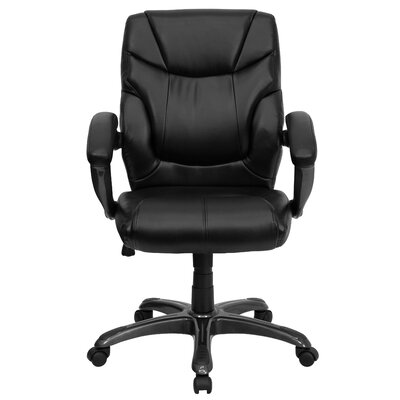 Flash Furniture Leather Executive Chair with Gun Metal Base and Thick Padded Arms