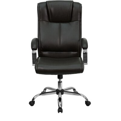 Flash Furniture High-Back Leather Executive Chair with Chrome Base and Arms