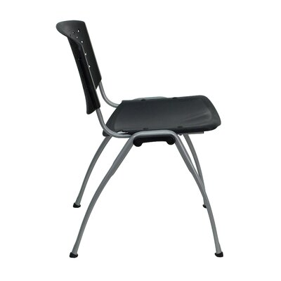 Flash Furniture Hercules Series Polypropylene Stack Chair with Titanium Frame Finish in Black