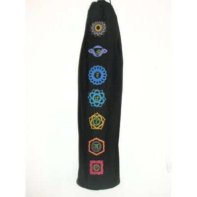 Printed Chakra Yoga Mat Bag in Black by OMSutra