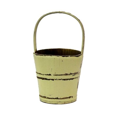 Vintage Water Bucket with Bamboo Handle by Antique Revival