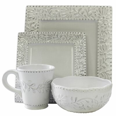 Bianca Leaf Square 16 Piece Dinnerware Set by American Atelier