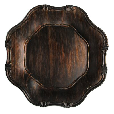 """ChargeIt! by Jay 13"""" Baroque Wood Grain Charger Plate"""