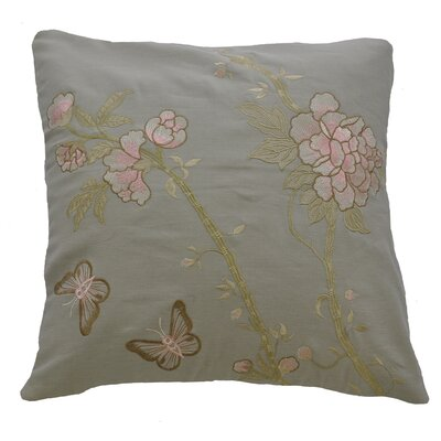 AV Home Butterfly and Flowers Embroidered Cotton Throw Pillow