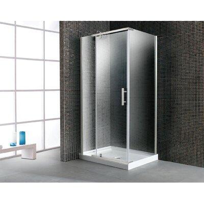 40'' Corner Glass Pivot Door Shower Enclosure with Acrylic Base Product Photo