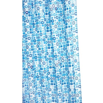 Geo Mosaic Polyester Fabric Shower Curtain by Croydex