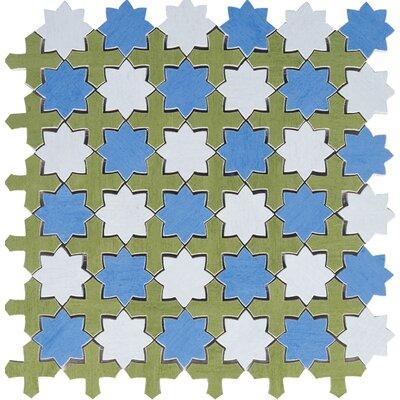 Aquarelle Random Sized Ceramic Mosaic Tile in Star Blue by Interceramic
