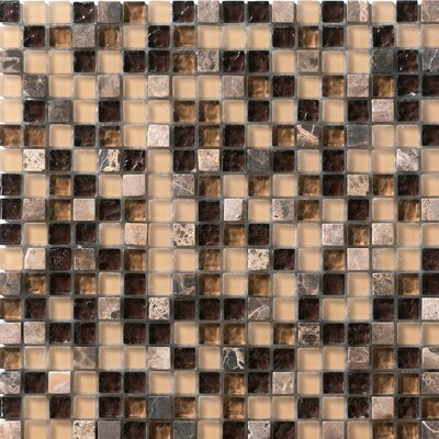 Crystal Glass and Stone Mosaic Tile in Coffee by Marazzi