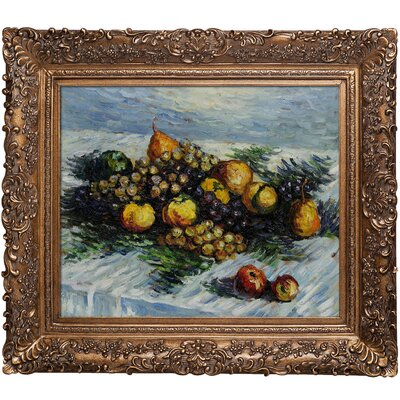 Monet Pears and Grapes Hand Painted Oil on Canvas Wall Art by Tori Home