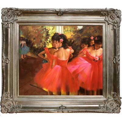 Dancers in Pink Hand by Degas Framed Painted Oil on Canvas by Tori Home
