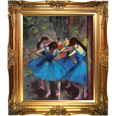 Dancers in Blue Hand by Degas FrameddPainted Oil on Canvas by Tori Home
