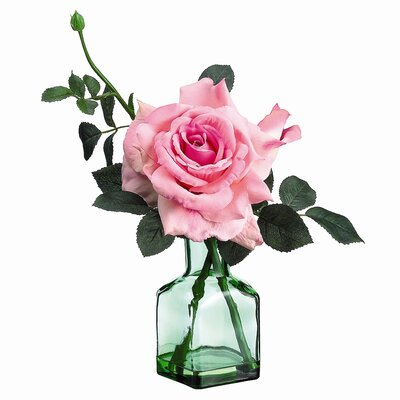 Rose in Glass Vase by Tori Home
