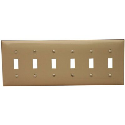 Morris Products 6 Gang Lexan Wall Plates for Toggle Switch in Ivory