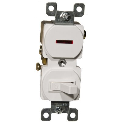 Morris Products 15A-120 Single Pole Switch and Pilot Light in White