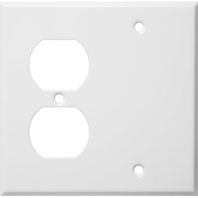 Morris Products 2 Gang 1 Duplex 1 Blank Stainless Steel Metal Wall Plates in White
