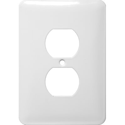 Morris Products Midsize 1 Gang Duplex Receptacle Stainless Steel Metal Wall Plates in White