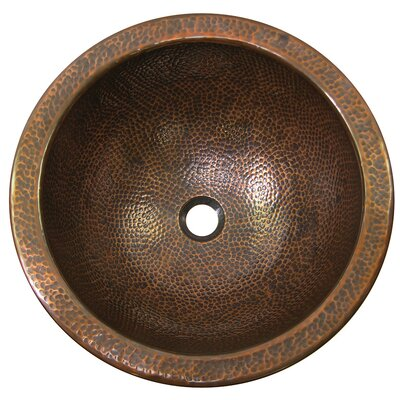 The Copper Factory Large Round Self-Rimming Bathroom Sink