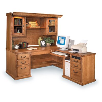 Huntington Oxford L-Shape Executive Desk with Hutch by Martin Home Furnishings