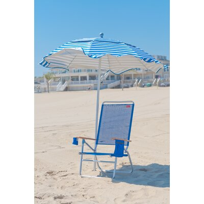 6 ft. Diameter Fiberglass Beach Haven Umbrella - Pacific Blue and White Stripe by Frankford ...