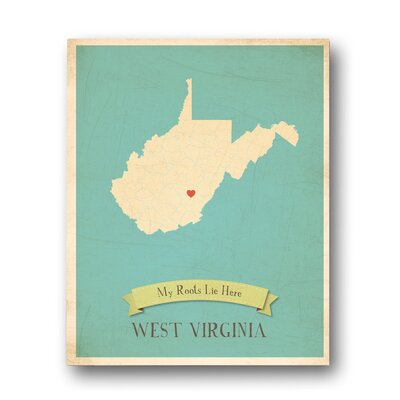 My Roots West Virginia Personalized Map Graphic Art on Gallery Wrapped Canvas by Children ...