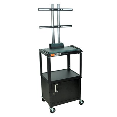 Luxor Adjustable Height Flat Panel Cart with Cabinet