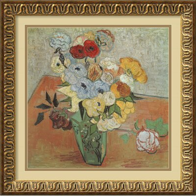 Amanti Art 'Roses and Anemones' by Vincent Van Gogh Framed Painting Print