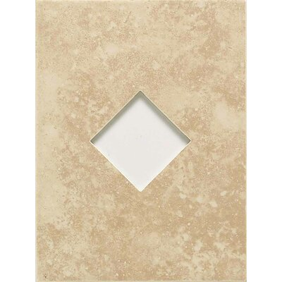 """American Olean Ash Creek 12"""" x 9"""" Glazed Wall Tile Accent with Diamond Cutout in Almond"""